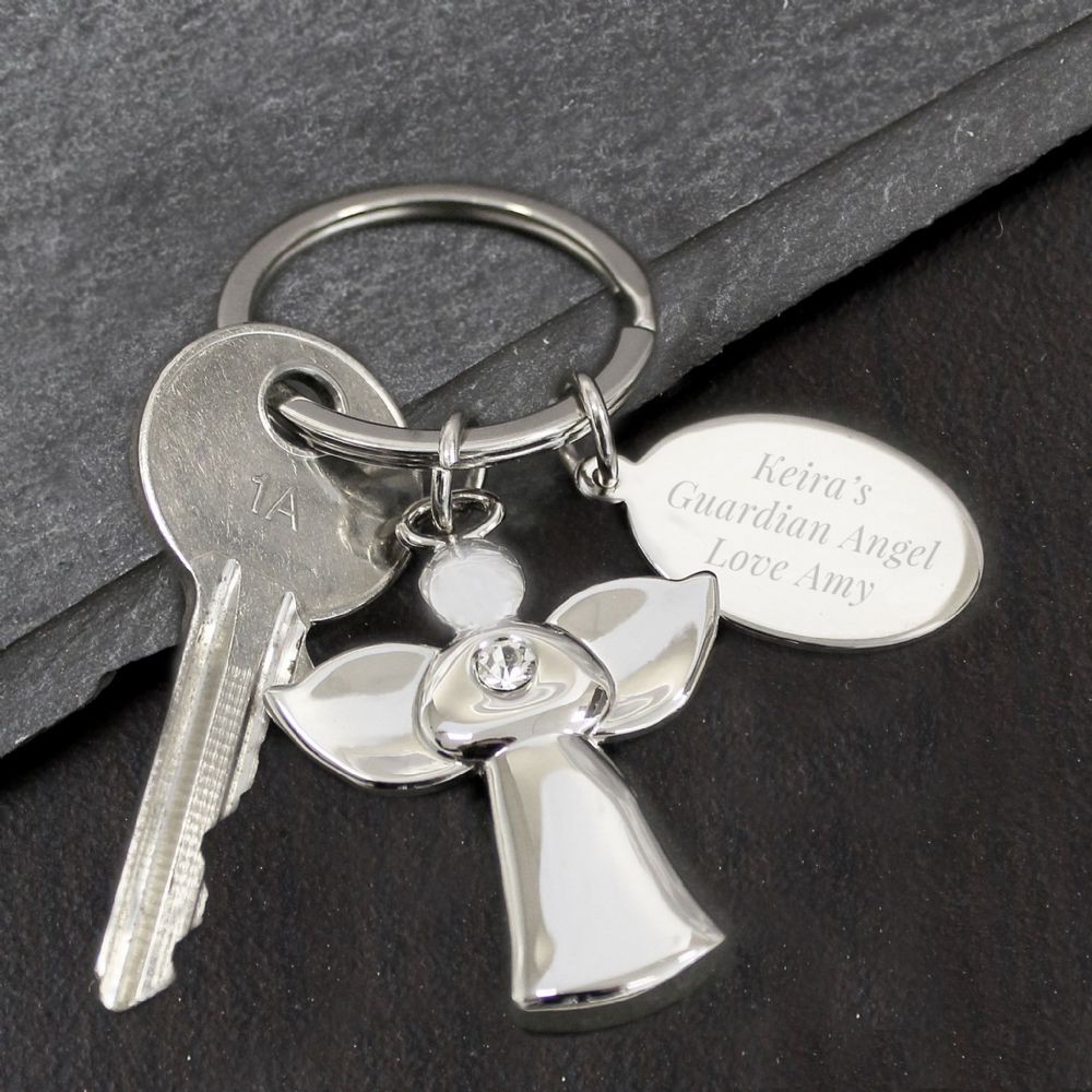 Guardian Angel keyring gift engraved with personal message
